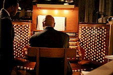 Nerva playing on one of the largest pipe organs at the Riverside Church in New York.