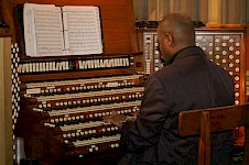 Nerva playing on one of the largest pipe organs in the world, at the Riverside church in New York.
